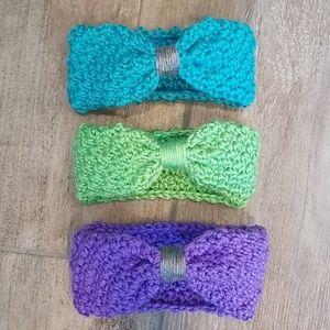 Handmade crochet neon baby bow headbands.